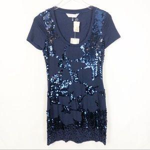 Trina Trunk NWT Blue sequins short sleeves dress S